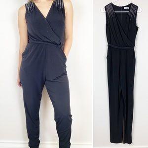 Calvin Klein black sleeveless embellished jumpsuit